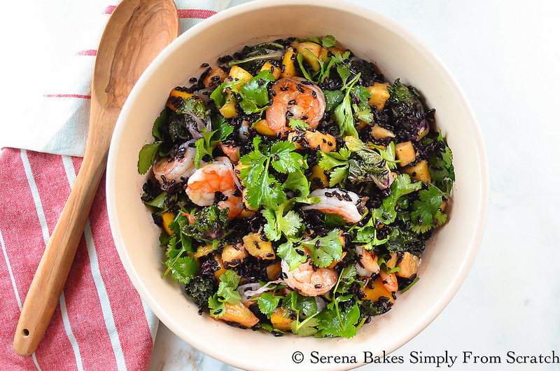 Asian Shrimp Black Rice Salad with mango, pineapple, kale, cilantro, and asian dressing from Serena Bakes Simply From Scratch.
