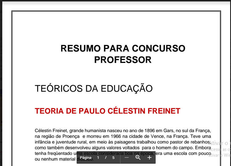 Super preparado resumo concurso professor celestin freinet for Concurso profesor