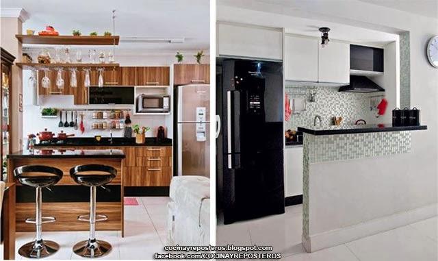 Cocinas con barra cocina y reposteros decoraci n fotos for Barras de cocina para espacios pequenos