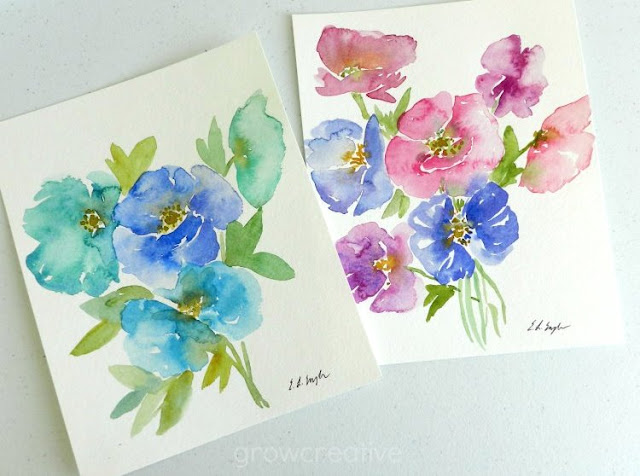 Pink, blue, purple poppies paintings in watercolor: growcreativeblog
