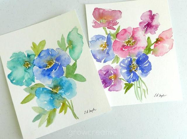 Pink, blue, purple poppies paintings in watercolor: growcreativeblog