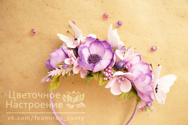 украшение для волос с цветами из фоамирана