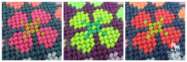 Tent stitch needlepoint flower with four petals in three different colourways