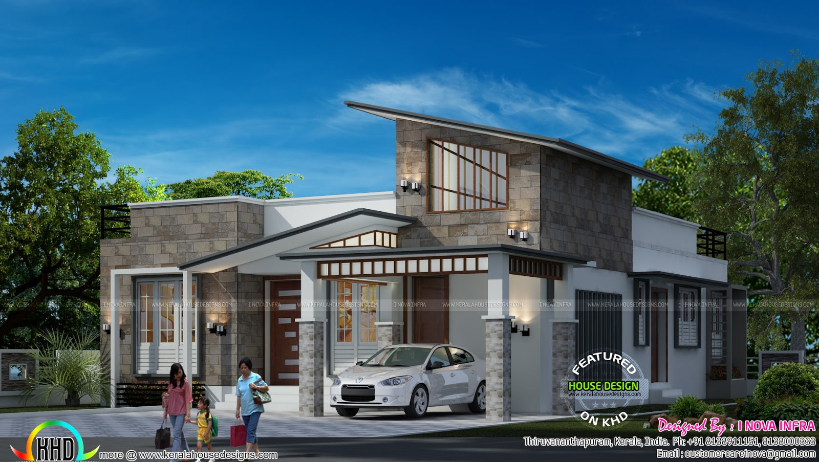 Contemporary modern single floor house  Kerala home