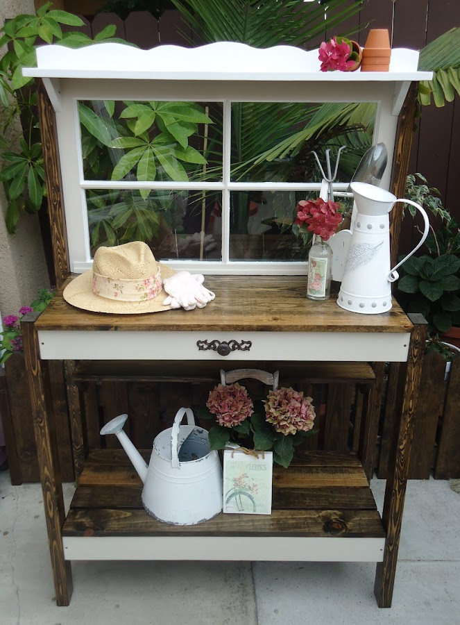 Vintage 4-Pane Potting Table - SOLD