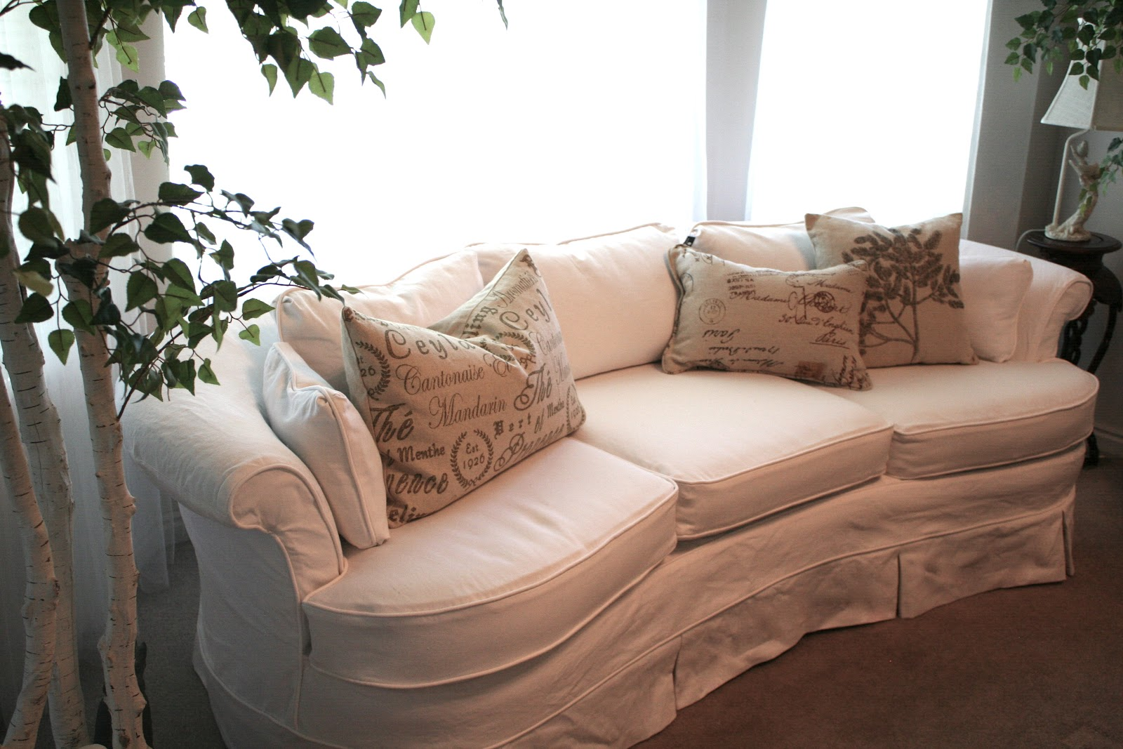 White Curvy Couch Slipcover Slipcovers By Shelley ~ White Linen Sofa Slipcover