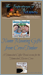 Name Meaning Gifts from CrossTimber - a Homeschool Coffee Break review for the Homeschool Review Crew on kympossibleblog.blogspot.com #CrossTimber #namemeaning #hsreviews