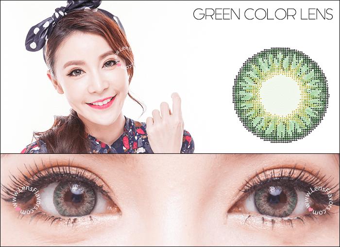 geo tricolor green circle lenses