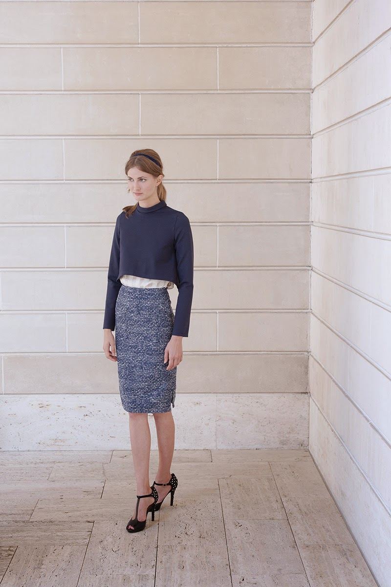 alyssa nicole fall 2014, alyssa nicole designer, san francisco, san francisco fashion, lookbook, couture, blue dress, crop top, cropped turtle neck, pencil skirt, metallic skirt, navy skirt, blue skirt,