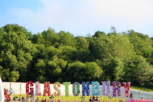The Glastonbury sign looks over the whole festival area