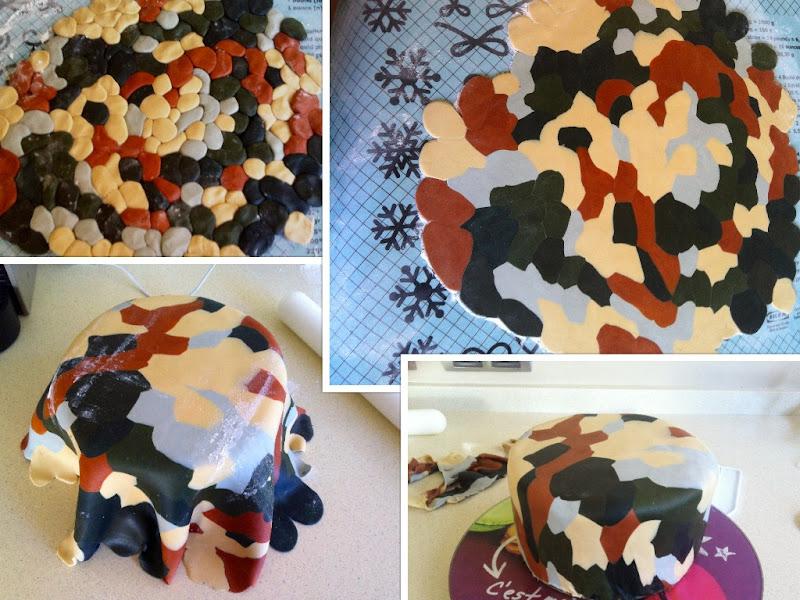 Tarta fondant camuflaje