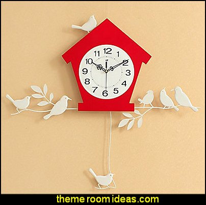 BIRDHOUSE WALL CLOCK   birdcage bedroom ideas - decorating with birdcages - bird cage theme bedroom decorating ideas - bird themed bedroom design ideas - bird theme decor - bird theme bedding - bird bedroom decor - bird cage bedroom decor - bird cage lighting
