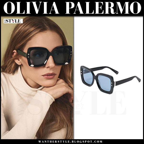 Olivia Palermo with black square sunglasses max and co what she wore