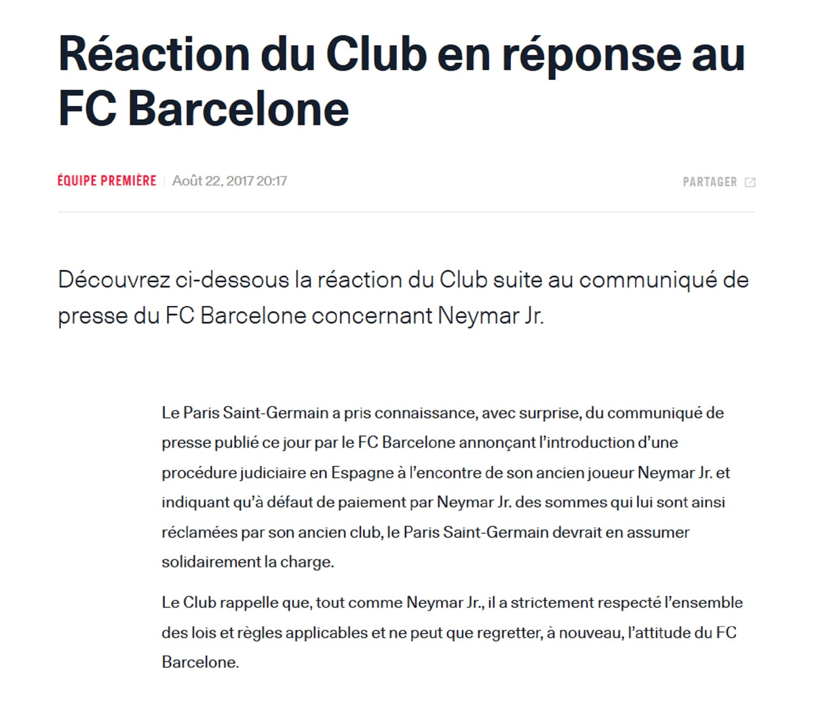 PARIS SAINT-GERMAIN FC STATEMENT