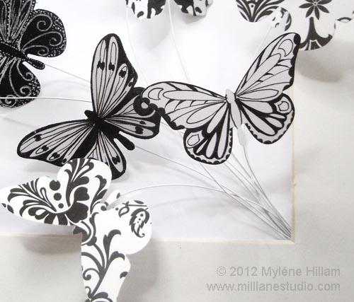 Bouquet of hand drawn butterflies
