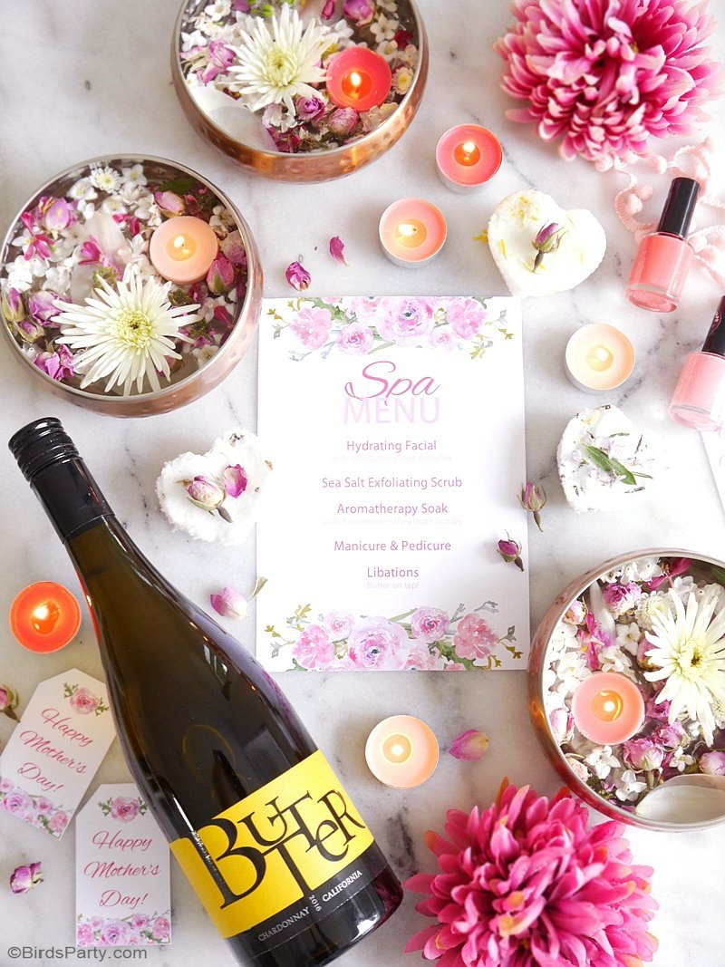 A Relaxing Home Spa Party for Mother's Day  - DIY easy to style party ideas for a spa bar cart and treatments to have a fun, pampering day with mom! by BirdsParty;com @birdsparty #spaparty #athomespa #spapartyideas #spa #mothersday #mothersdayparty #bridalshower