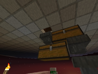 Opvang- en opslagsysteem voor wortelen in het spel Minecraft.