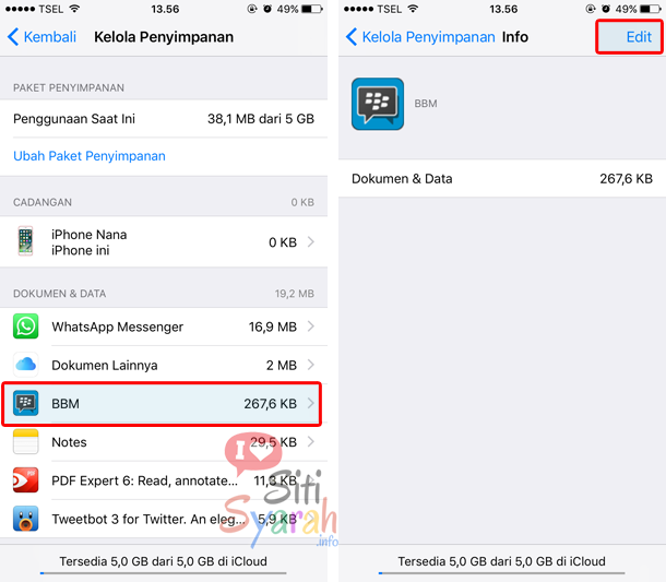 hapus data bbm di iPhone