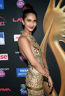 Vaani Kapoor in Golden Glittering Gown Spotted at IIFA