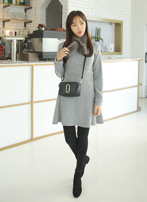 Cutout Cuffs Fleece A-Line Dress