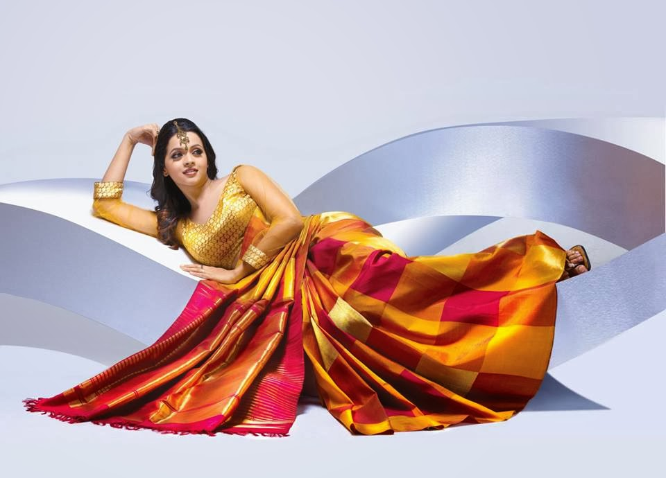 Bhavana Hot Photoshoot For Pulimoottil Silks Ad