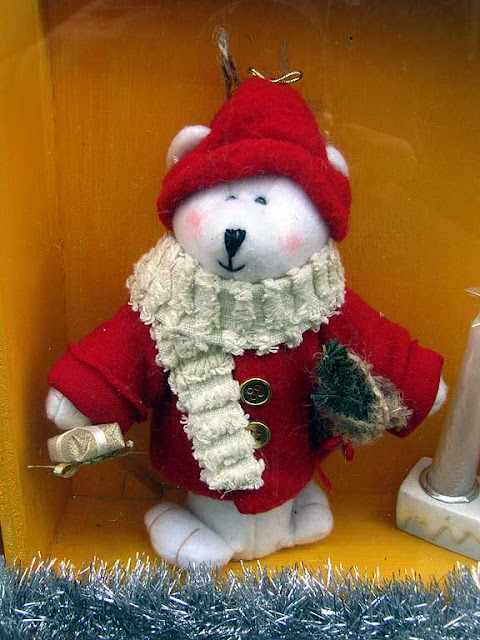 Santa bear, shop window, via Goldoni, Livorno