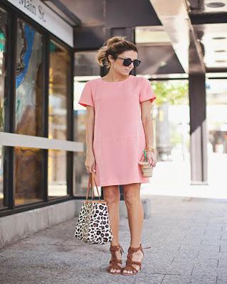 vestido corto liso rosa de moda