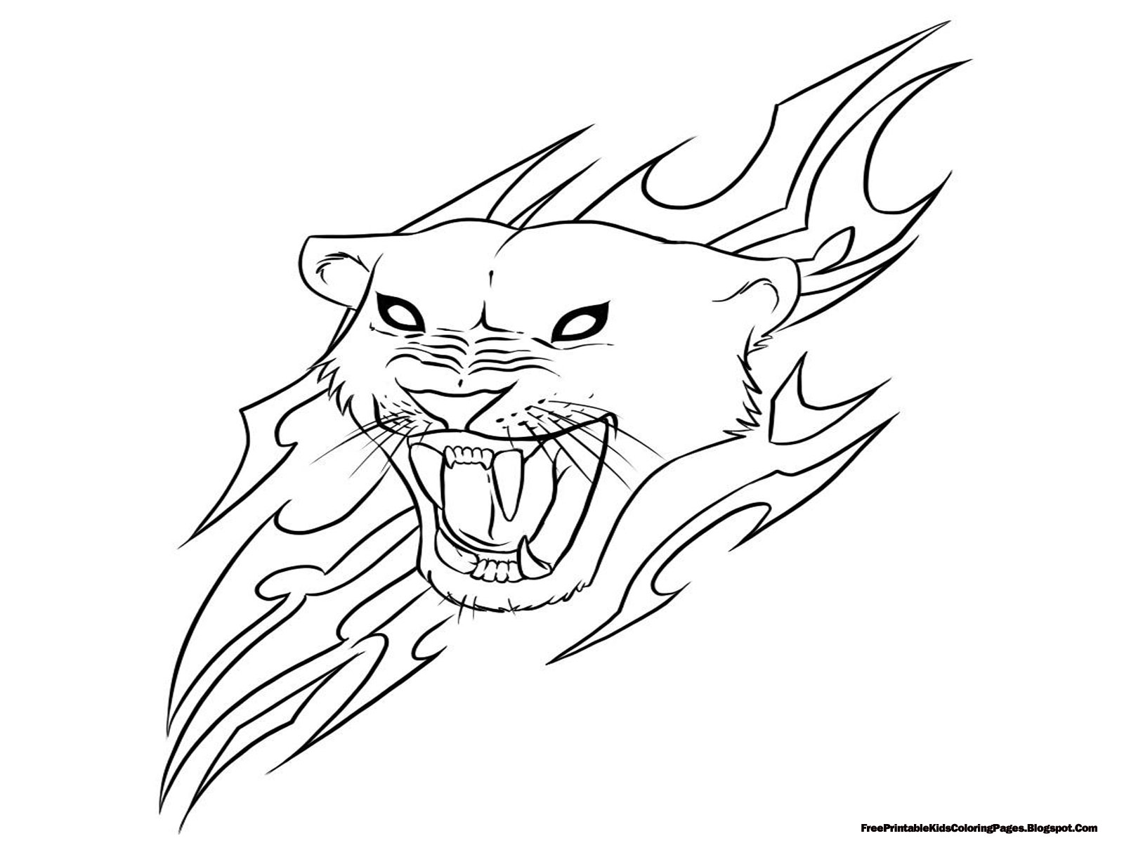 Jaguar Head With Flare Coloring Pages Printable Free Printable