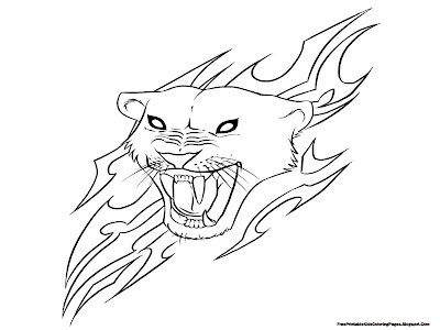 Jaguar Head With Flare Coloring Pages Printable