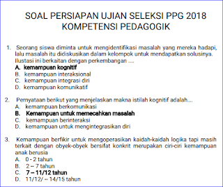 Soal Pretest PPG 2018