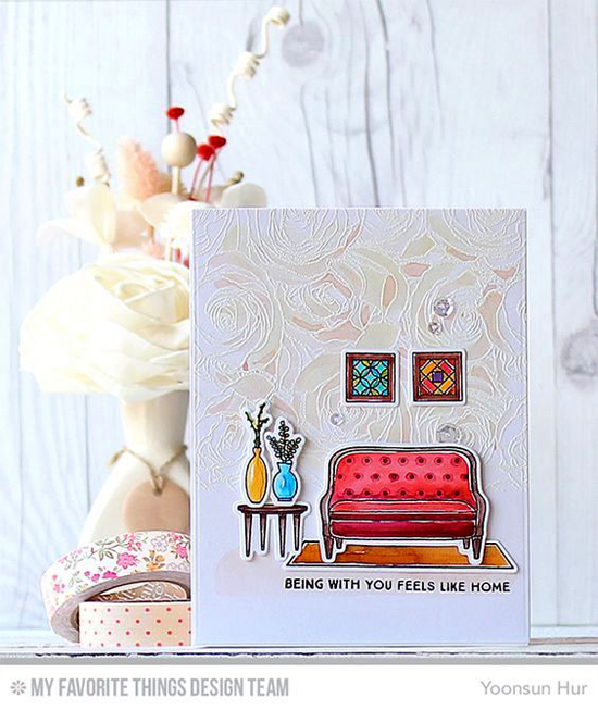 Feels Like Home Card by Yoonsun Hur featuring the Lisa Johnson Designs Make Yourself at Home stamp set and Die-namics, and the Roses All Over Background stamp #mftstamps