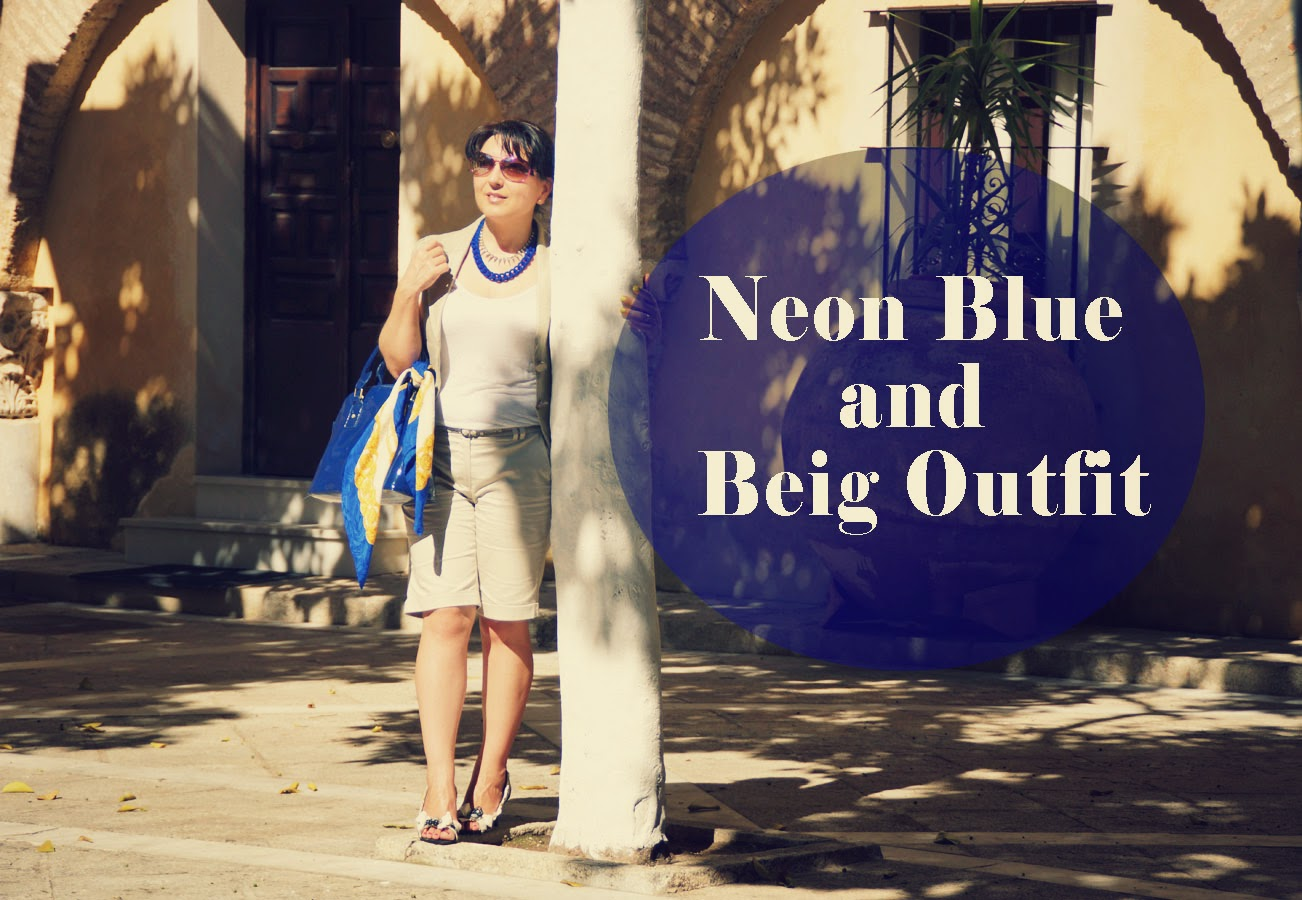 neon+blue+and+beig+outfit