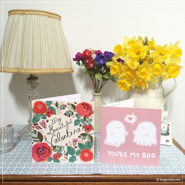 Beautiful-Valentine-Card-and-You're-My-Boo-Card-(Prints-By-Pippa)-with-Daffodils-in-Milk-Jug-in-Hallway-Spring-Home