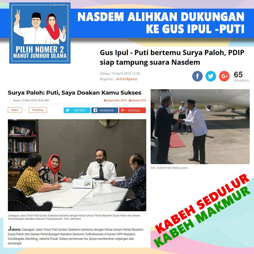 Partai Nasdem Secara Politik Lebih Dukung Gus Ipul - Puti Guntur
