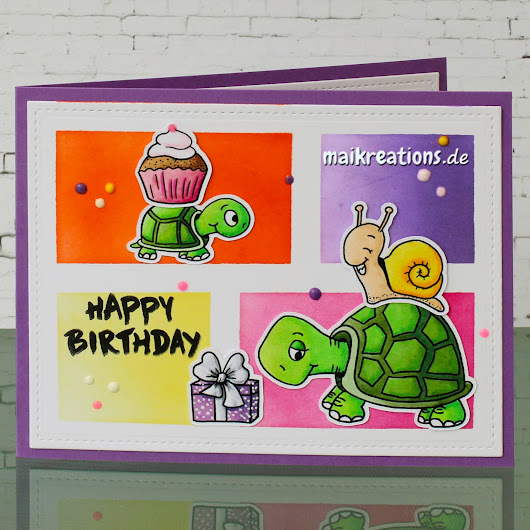 Turtley cute Turtles and some colour blocking (birthday card)