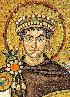 Byzantine Emperor, Justinian I, portrayed in mosaic in Ravenna's Basilica of San Vitale