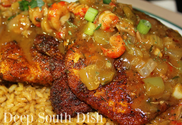 Catfish fillets, dredged in blackening seasonings and cooked in a hot cast iron skillet, served over Cajun Rice Pilaf and finished with an etouffee sauce with crawfish.