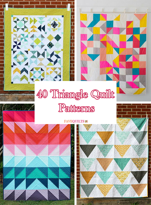 Terrific Triangle Quilt Tutorials: 40 Triangle Quilt Patterns By Anna Deen from FaveQuilts