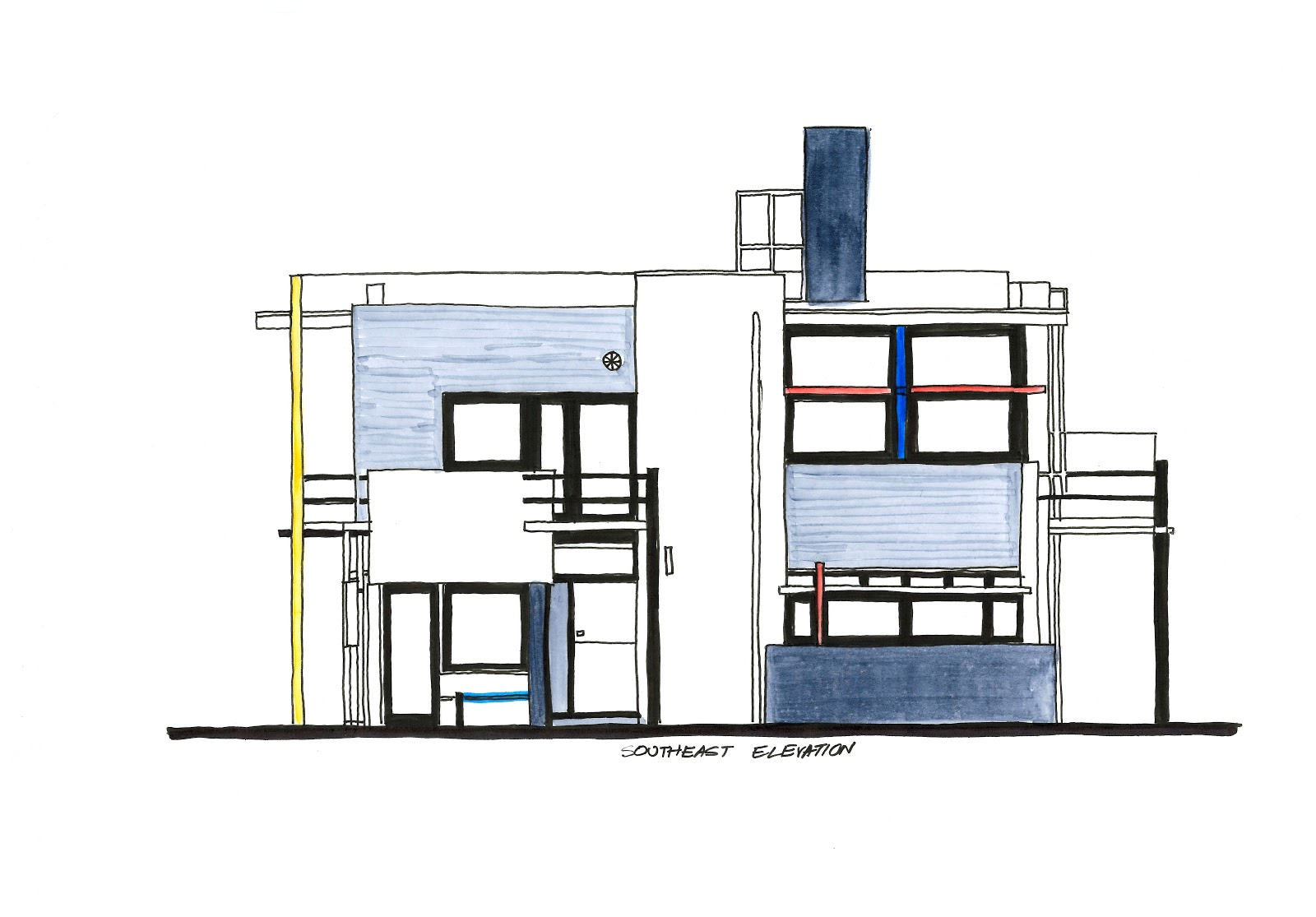 Best Color Interior The Rietveld Schroder House Diagrams An In Depth