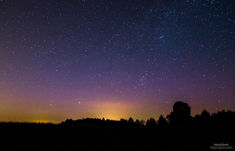Zorza polarna sfotografowana w noc z 05 na 06.06.2016 r. Okolice Rzeszowa, podkarpackie. Autor: Andrzej Błoński