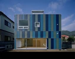 perpaduan warna cat rumah biru minimalis