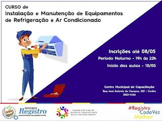 Centro de Capacitação recebe inscrições para curso gratuito de Instalação e Manutenção de Equipamentos de Refrigeração e Ar Condicionado até 08/05