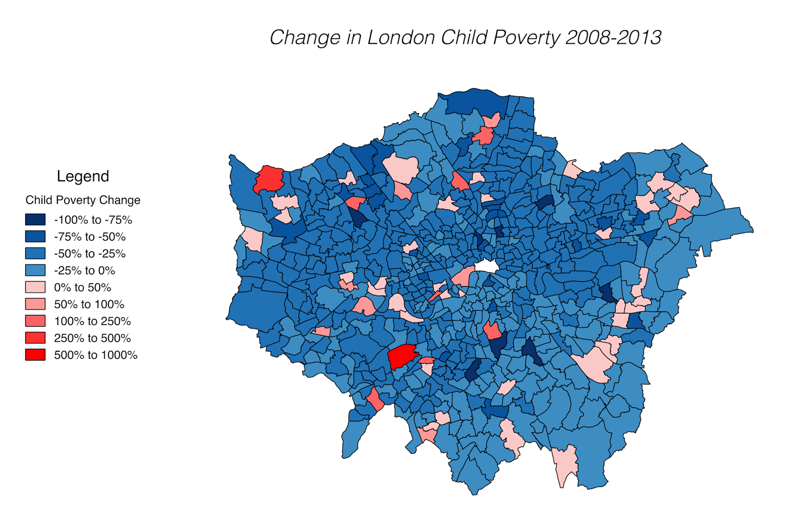 Change in London child poverty (2008 - 2013)