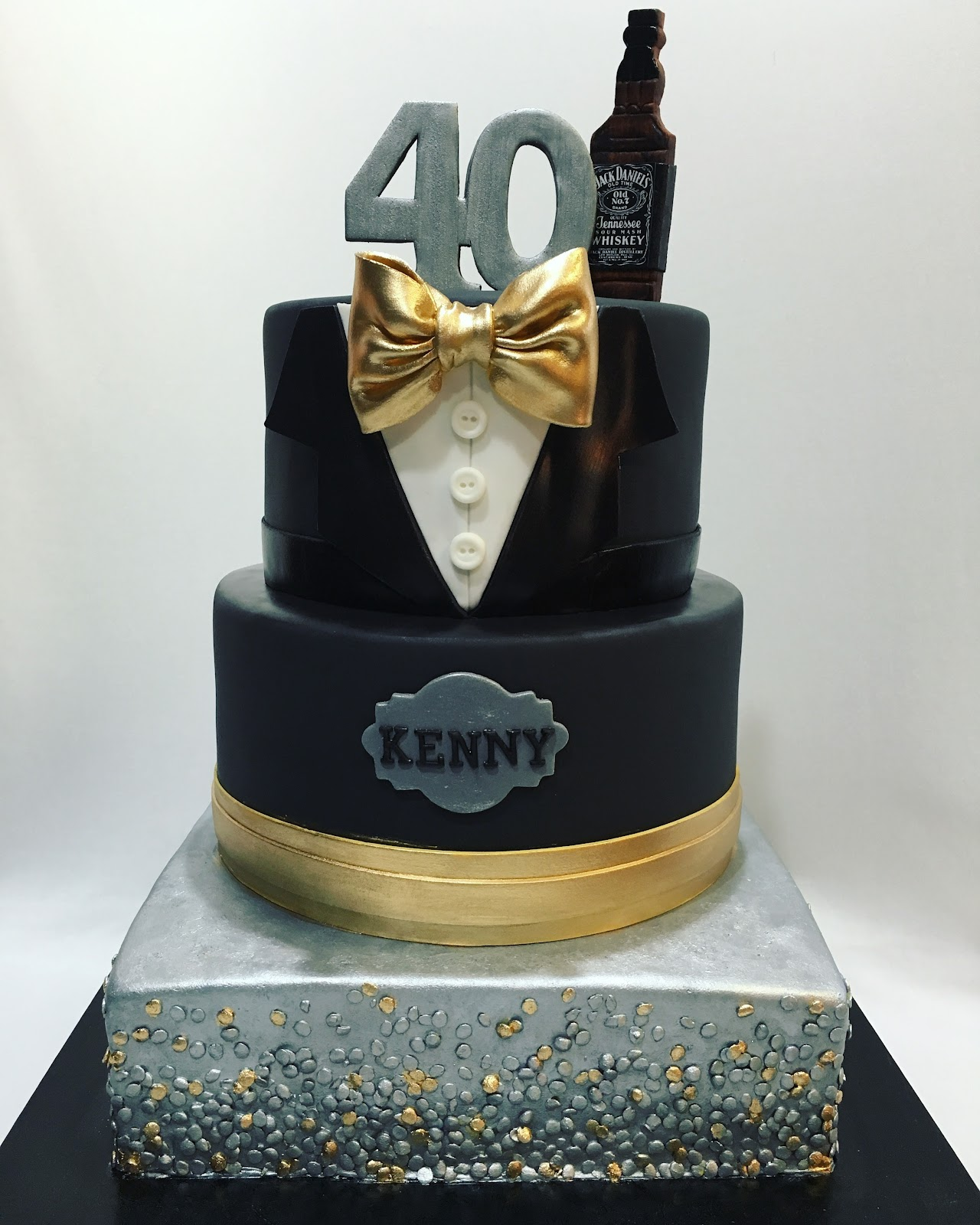 MyMoniCakes Silver and Gold Gentleman Tuxedo cake