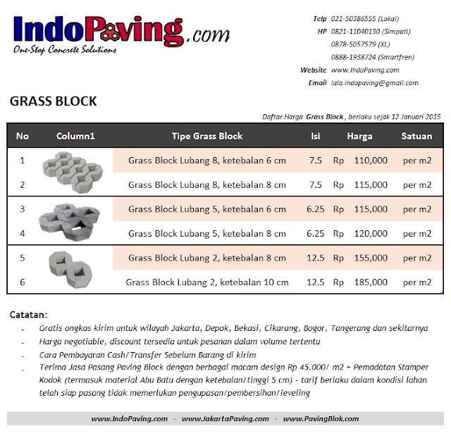Daftar harga jual pabrik grass block - http://www.indopaving.com