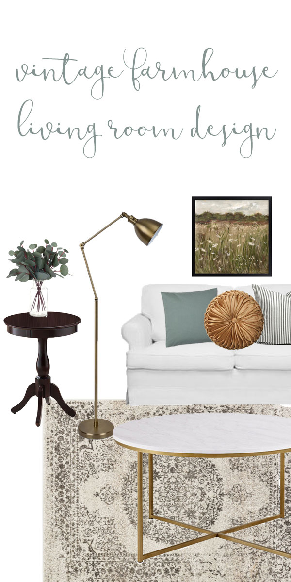 Moodboard for Vintage modern farmhouse living room design plans