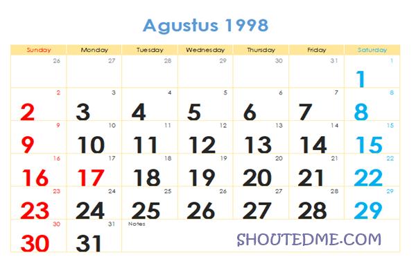 Kalender 1998 Masehi Bulan Agustus