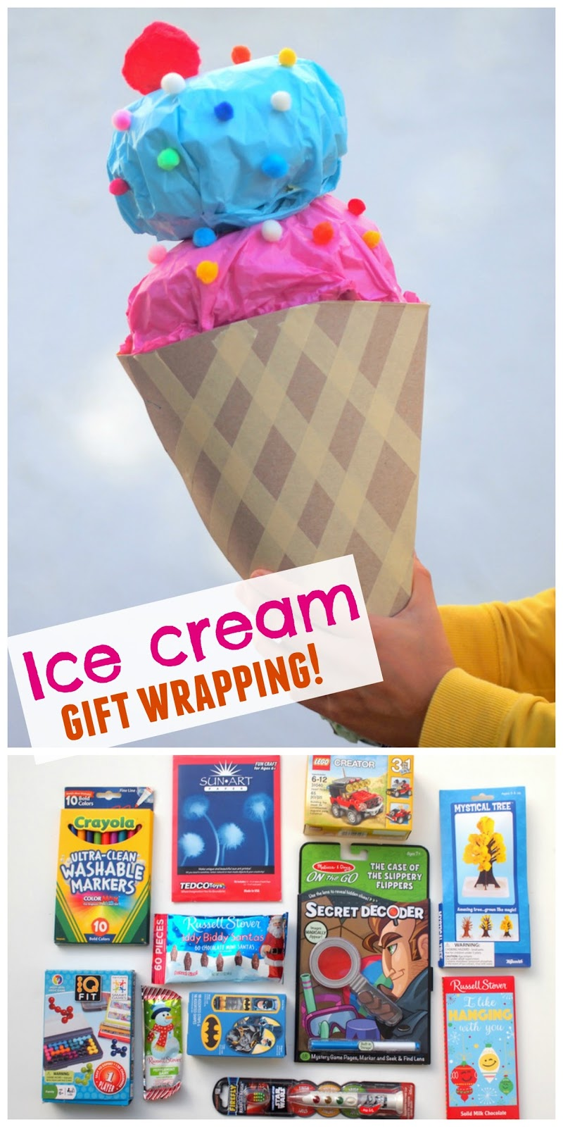 Diy Giant Ice Cream Cone Gift Wrapping A Fun Alternative To Christmas Stockings Pink