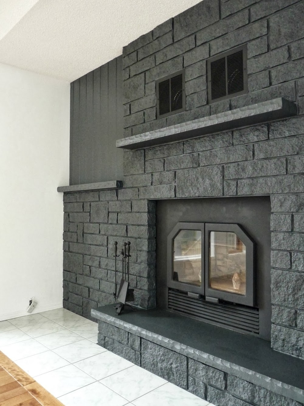 How to Easily Paint a Stone Fireplace (Charcoal Grey ... on Brick Painting Ideas  id=60498