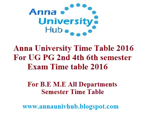 Anna university hub for 6th sem time table